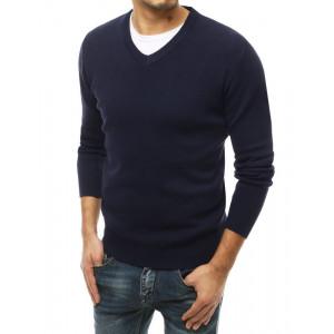 Štýlový pánsky jednofarebný modrý sveter