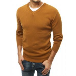 Originálny pánsky sveter v krásnej hnedej camel farbe