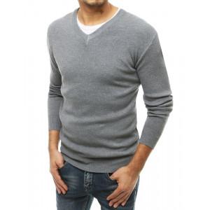 Štýlový pánsky sivý sveter s výstrihom do V