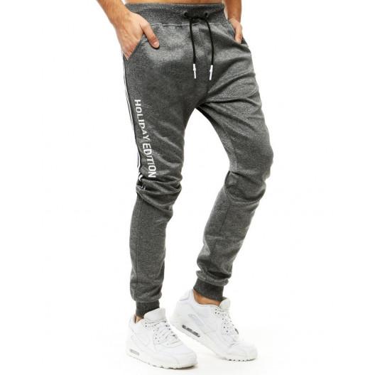 Trendy pánske sivé jogger tepláky s nápisom HOLIDAY EDITION