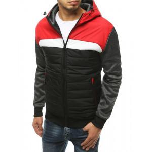 Červená pánska prešívaná prechodná bunda s kapucňou