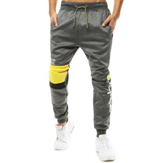 Siév pánske jogger tepláky so žltým kolennným pásom