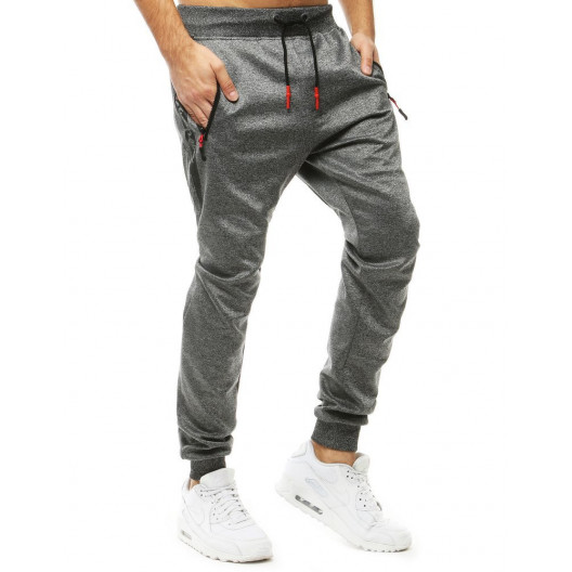 Trendy pánsky sivé jogger tepláky s bočnými vreckami na zips