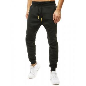 Moderné čierne jogger tepláky s bočnými vreckami na zips