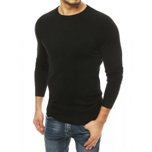 Trendy pánsky čierny sveter s okrúhlym výstrihom
