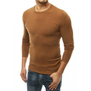 Jednofarebný pánsky hnedý sveter BASIC