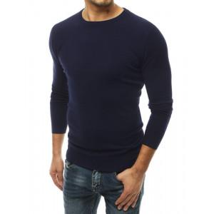 Granátovo modrý pánsky sveter s dlhým rukávom