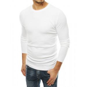 Moderný pánsky biely sveter v módnom jednofarebnom designe