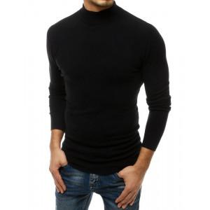 Kvalitný pánsky čierny sveter s vyšším golierom