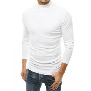 Originálny pánsky biely sveter s vysokým golierom