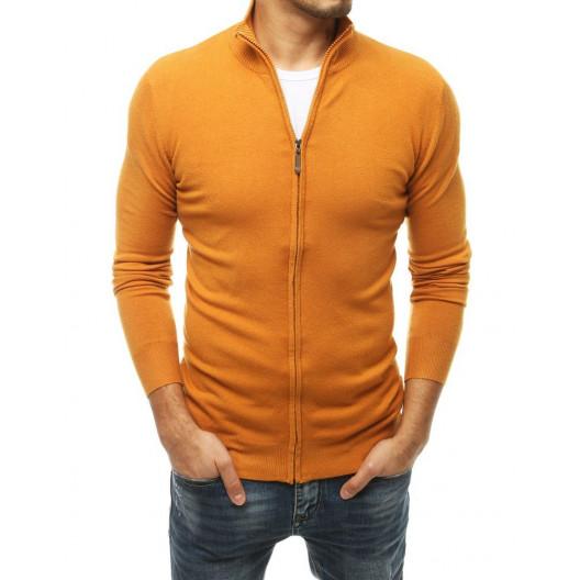 Jednofarebný pánsky žltý sveter so zapínaním nazips