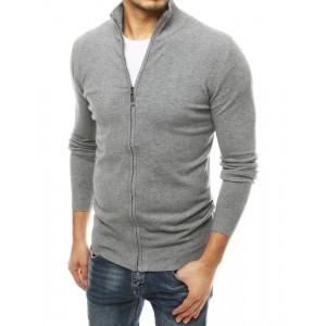 Moderný pánsky sivý sveter so zapínaním na zips