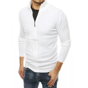 Biely pánsky sveter so zapínaním na zips