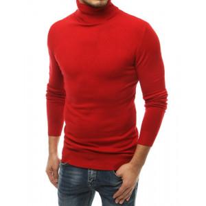 Červený pánsky sveter  rolák s vysok'ým golierom
