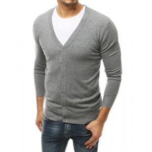 Moderný pánsky sivý sveter so zapínaním na gombíky