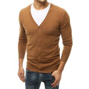 Pohodlný hnedý pánsky sveter so zapínaním na gombíky