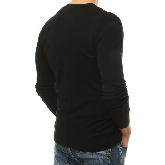 Kvalitný pánsky čierny sveter  s trendy zapínaním na gombíky