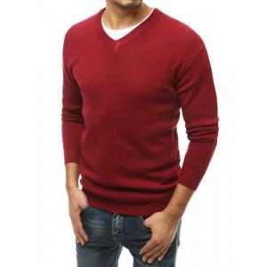 Bordový pánsky sveter s výstrihom do V