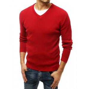 Krásny červený jednofarebný pánsky sveter