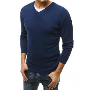 Kvalitný pánsky modrý sveter s výstrihom do V