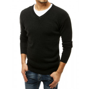 Pánsky čierny sveter v módnom jednofarebnom designe