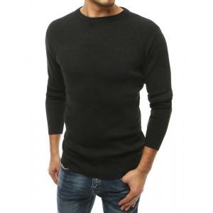 Pánsky tmavo sivý jednofarebný sveter s okrúhlym výstrihom