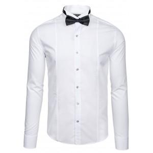 Pánska elegantná biela košeľa s motýlikom