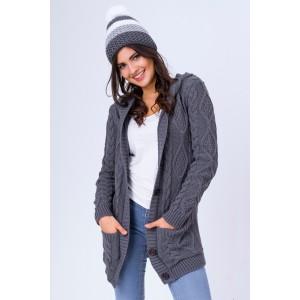 Dámsky pletený sveter v sivej farbe