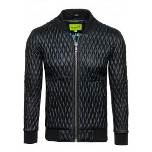 Kožená bunda čiernej farby so zipsom