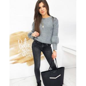 Šýlový dámsky sivý sveter s módnymi rukávmi