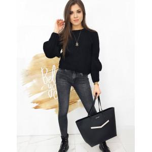 Čierny dámsky sveter s ozdobnými rukávmi
