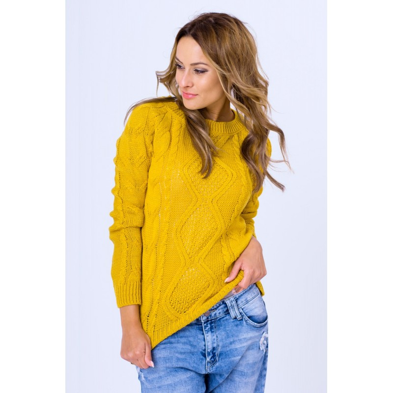 ca03c106d116 Dámsky pletený svetrík horčicovej farby - fashionday.eu