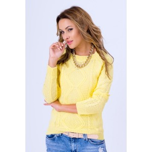 Úpletový sveter dámsky v citrónovej farbe