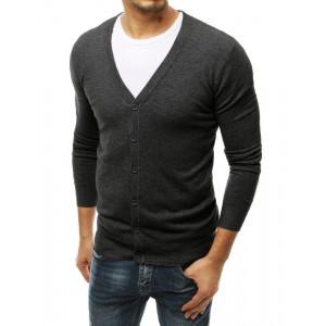 Pohodlný pánsky šedý sveter so zapínaním na gombíky