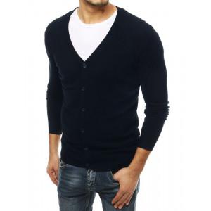 Krásny pánsky sveter v tmavomodrej farbe s V výstrihom
