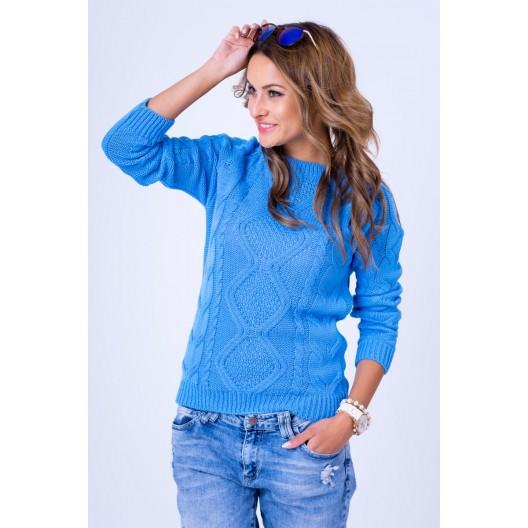Dámsky pletený sveter svetlo modrej farby