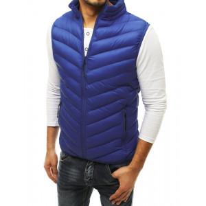 Trendy pánska modrá vesta bez rávukov so stand up golierom