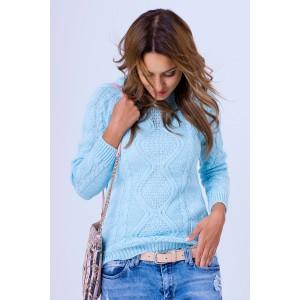 Pletený pulóvrik blankytne modrej farby