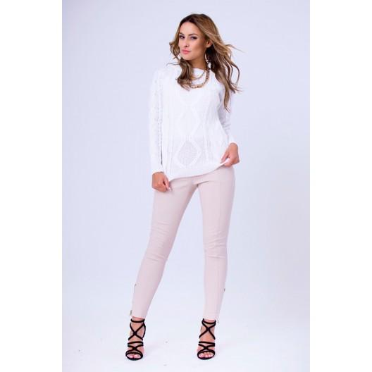 Biely dámsky pletený pulóver