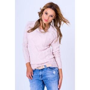 Dámsky pletený pulóver pudrovo ružovej farby