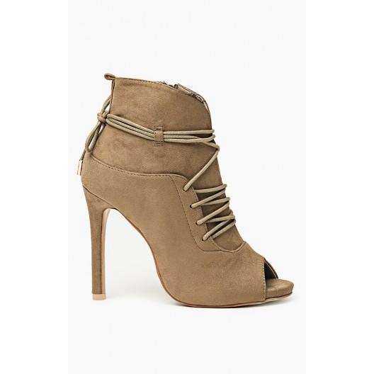 Dámska topánka s viazaním okolo nohy a otvorenou špičkou khaki farbe