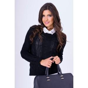 Čierny pletený svetrík dámsky