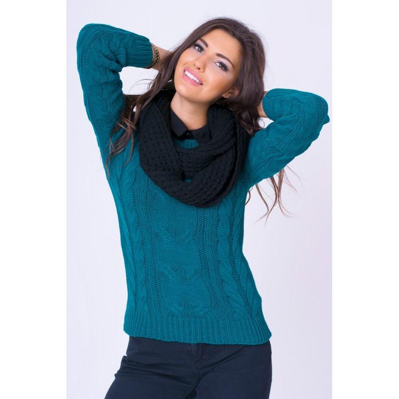 29f3a5814252 Predchádzajúci. Dámsky pletený sveter zelenej farby ...