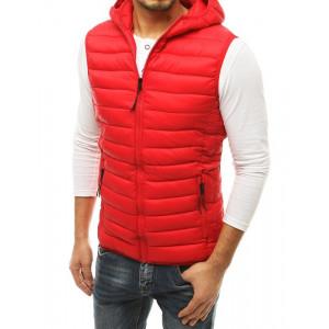 Krásna pánska červená vesta s kapucňou