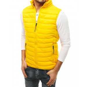 Moderná pánska prechodná vesta v svetlo žltej farbe