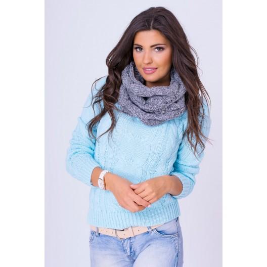 Dámsky pletený pulóvrik modrej farby