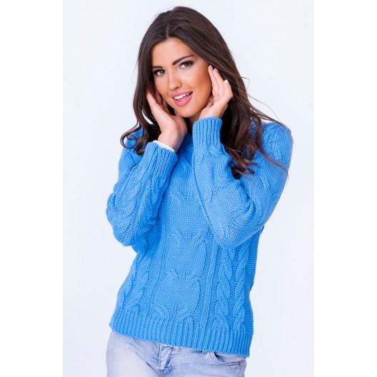 Dámsky pletený svetrík tmavo modrej farby