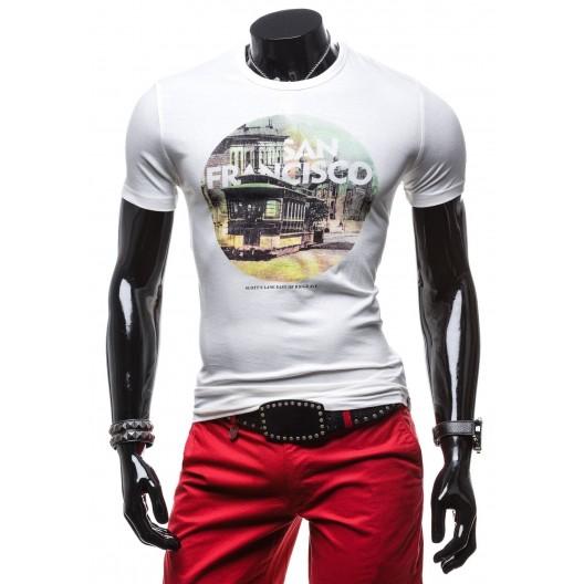 Pánske tričko bielej farby s krátkym rukávom
