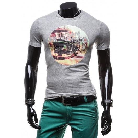 Sivé pánske tričko s potlačou