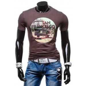 Pánske tričko s okrúhlym výstrihom grafitovej farby